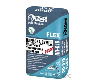 Клеящая смесь эластичная армированная ПОЛИПЛАСТ ПП-019 FLEX (до 100⁰), 25кг