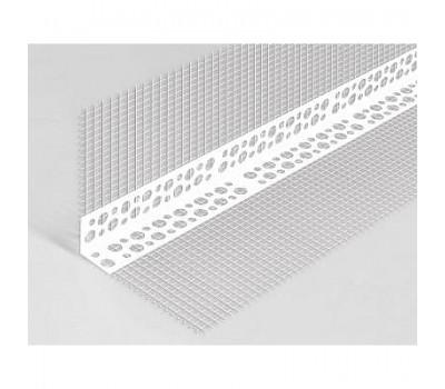 Профиль угловой перфорированный с сеткой пластиковый 10х10, 3м Алви